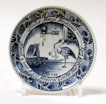 dutch delft blue commemorative birth and wedding plates